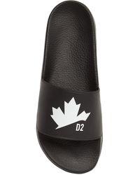 DSquared² Maple Leaf ラバースライドサンダル - ブラック