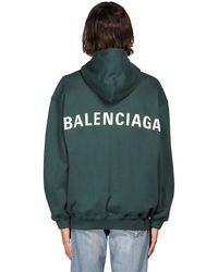Balenciaga Hoodie Aus Baumwolljersey Mit Logo - Grün