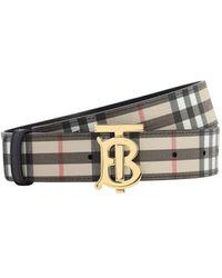 "Burberry Cintura ""Tb Vintage"" In Pelle Check 35Mm - Multicolore"