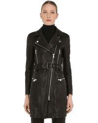 Belstaff Marvingt Leather Biker Coat - Black