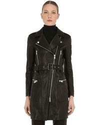 Belstaff Marvingt Leather Biker Coat - Black