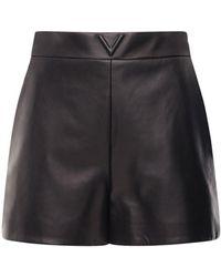 Valentino V Logo Belted Leather Shorts - Black