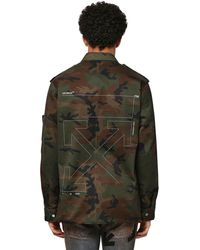 Off-White c/o Virgil Abloh Unfinished Camo Cotton Military Jacket - Green