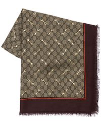 Gucci Gg Print Modal & Silk Shawl W/ Horsebit - Multicolour