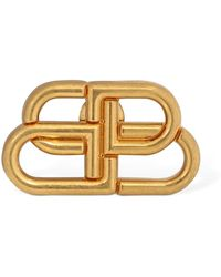 Balenciaga Bb Logo Brooch - Metallic