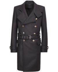 Balmain Wool Blend Military Coat W/ Belt - Blue