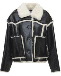 Stand Studio Callie Cropped Wool Blend Fur Jacket - Black
