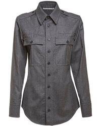 Stella McCartney Рубашка Из Шерстяной Фланели - Серый