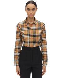 Burberry Camicia In Popeline Di Cotone Check - Multicolore