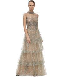 Sandra Mansour Vestido Largo De Tul Con Glitter - Gris