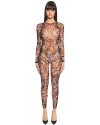 DSquared² - Aloha Printed Tulle Long Bodysuit - Lyst