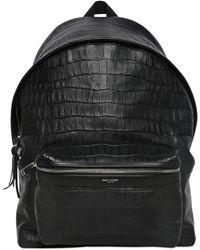 Saint Laurent Embossed Leather Backpack - Black