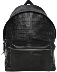 Saint Laurent Croc Embossed Leather Backpack - Black