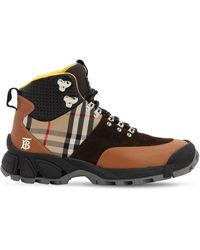Burberry 40mm Check Leather & Cotton Hiking Boots - Multicolor
