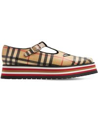 "Burberry 45mm Hohe Plateau-sandaletten Aus Leder ""aldwych"" - Mehrfarbig"