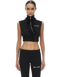 Palm Angels Cropped Techno Jersey Top - Black