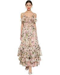 Dolce & Gabbana - Платье Из Шелковой Органзы С Принтом - Lyst