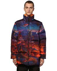 Marcelo Burlon Printed Fantasy Tech Zip Puffer Jacket - Blue