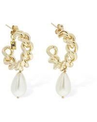 Rosantica Comedy Hoop Earrings W/ Imitation Pearl - Metallic