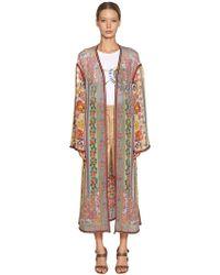 Etro - Printed Silk Georgette Long Kimono - Lyst