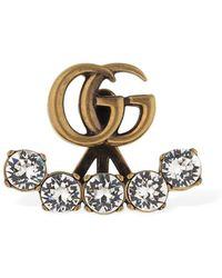 Gucci Boucle d'oreille unique Double G avec cristaux - Noir
