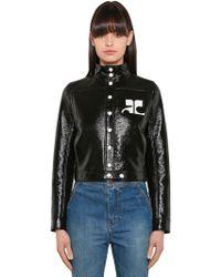 Courreges | Logo Faux Patent Leather Jacket | Lyst
