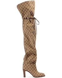 Gucci 85mm Lisa Gg Canvas Over-the-knee Boots - Natural
