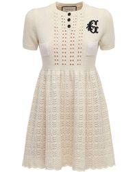 Gucci Платье Из Трикотажа С Вышивкой - Белый