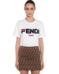 "Fendi Camiseta "" Mania"" De Algodón Jersey - Blanco"