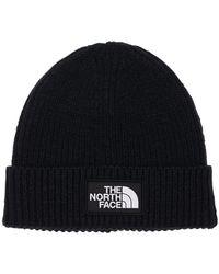 The North Face Logo Acrylic Blend Knit Cuffed Beanie - Black