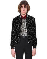 Saint Laurent Teddy Embellished Velvet Bomber Jacket - Black