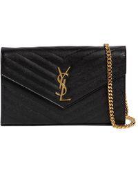 Saint Laurent Md Monogram Quilted Leather Bag - Black