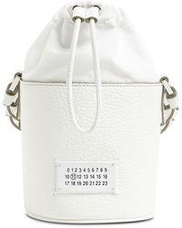Maison Margiela 5ac Mini Grained Leather Bucket Bag - White