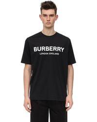 Burberry T-shirt Aus Baumwolljersey Mit Logodruck - Schwarz