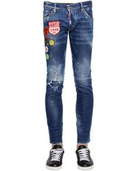 DSquared² - 16.5cm Clement Patch Cotton Denim Jeans - Lyst