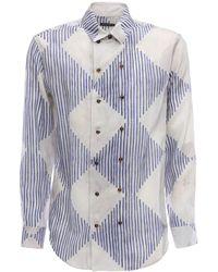 Giorgio Armani プリントキュプラシャツ - ブルー