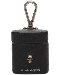 Alexander McQueen Skull Logo Leather Airpods Case - Black