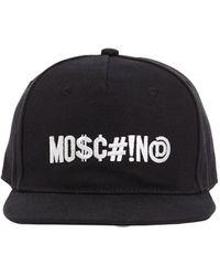 Moschino Casquette En Toile De Coton Avec Logo Brodé - Noir