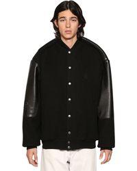 Balenciaga Pinched Sleeves Leather University Jacket - Black