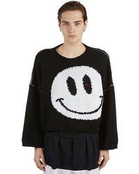 Raf Simons Smiley-jacquard Cropped Wool Jumper - Black