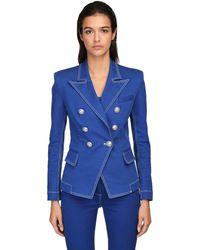 Balmain Zweireihiger Blazer Aus Baumwolldenim - Blau