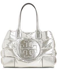 Tory Burch Ella Mini Quilted Nylon Lamé Tote Bag - Metallic