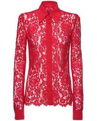 Dolce & Gabbana - Bluse Aus Crepe De Chine Und Spitze - Lyst