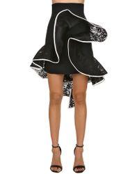 David Koma - High Waist Ruffled Lace & Cady Skirt - Lyst