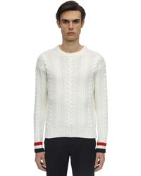 Thom Browne Aran Cable Knit Wool Crewneck Sweater - White