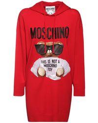Moschino Трикотажное Хлопковое Платье Moshino Bear - Красный
