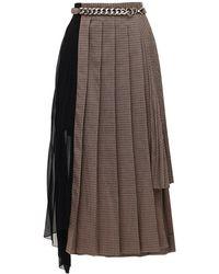 ROKH アシンメトリープリーツスカート - ブラウン