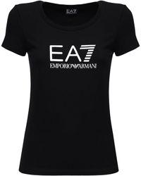 EA7 Хлопковая Футболка С Логотипом - Черный