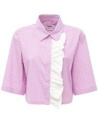 MSGM Hemd Aus Popeline Mit Streifen - Mehrfarbig