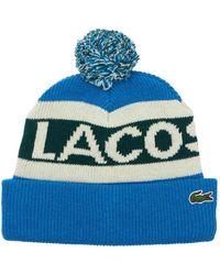 """Lacoste Beaniemütze Aus Wolle Mit Logo """" L!ve"""" - Blau"""